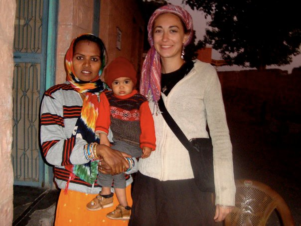 Rachel with a new friend in Deshnoke, Rajasthan, India