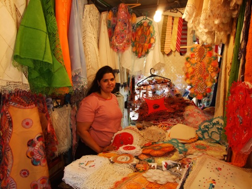 A local woman selling lace made in the traditional Paraguayan style