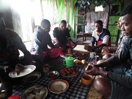 Breakfast with locals in a remote Fijian village in the mountains of Viti Levu, Fiji